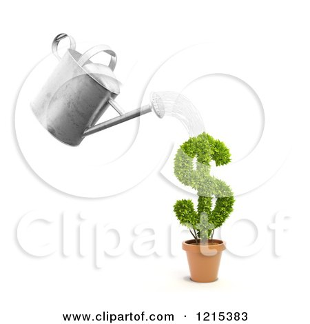 Clipart of a 3d Watering Can Pouring over a Dollar Symbol Investment Plant - Royalty Free Illustration by Mopic