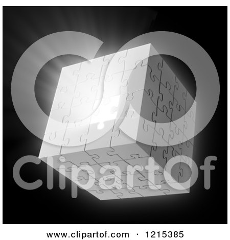 Clipart of a 3d Puzzle Cube with Light Bursting Through a Missing Piece - Royalty Free Illustration by Mopic