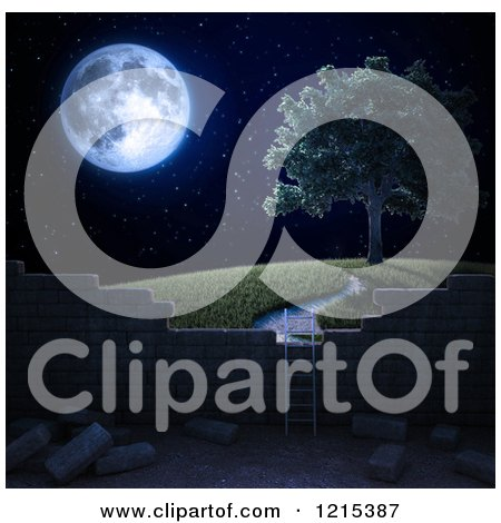 Clipart of a 3d Ladder Against a Brick Wall with a View of a Tree on a Hill at Night - Royalty Free Illustration by Mopic