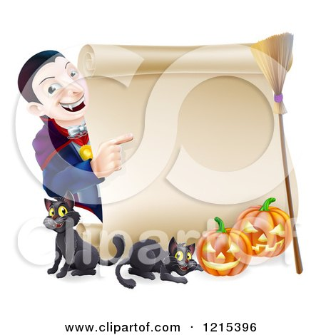 Clipart of a Happy Halloween Vampire Pointing to a Scroll Sign with Black Cats Pumpkins and a Broomstick - Royalty Free Vector Illustration by AtStockIllustration