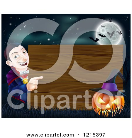 Clipart of a Happy Halloween Vampire Pointing to a Wooden Sign with a Jackolantern Under a Full Moon with Bats - Royalty Free Vector Illustration by AtStockIllustration
