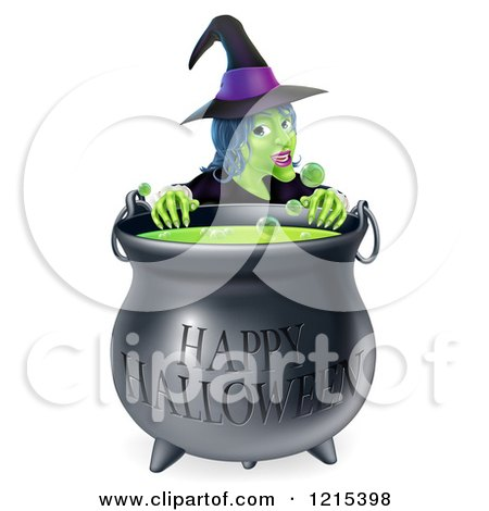 Clipart of a Witch Behind a Boiling Happy Halloween Cauldron - Royalty Free Vector Illustration by AtStockIllustration