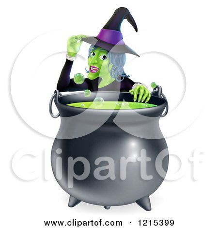 Clipart of a Witch Touching Her Hat from Behind a Boiling Halloween Cauldron - Royalty Free Vector Illustration by AtStockIllustration
