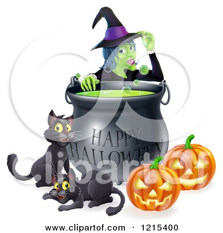 Clipart of a Witch Behind a Boiling Happy Halloween Cauldron with Black Cats and Jackolanterns - Royalty Free Vector Illustration by AtStockIllustration