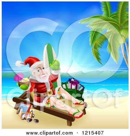 Clipart of Santa Waving and Holding a Cocktail While Lounging on a Beach with Vacation Items 2 - Royalty Free Vector Illustration by AtStockIllustration