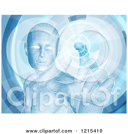 Clipart of a Virtual Man Touching a Screen - Royalty Free Vector Illustration by AtStockIllustration