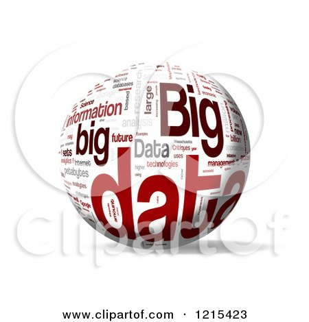 Clipart of a 3d Big Data Word Collage Sphere - Royalty Free Illustration by MacX