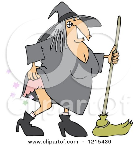Clipart of a Witch Lifting Her Dress and Farting - Royalty Free Vector Illustration by djart