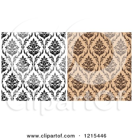 Clipart of Black and White and Brown Seamless Vintage Damask Patterns - Royalty Free Vector Illustration by Vector Tradition SM