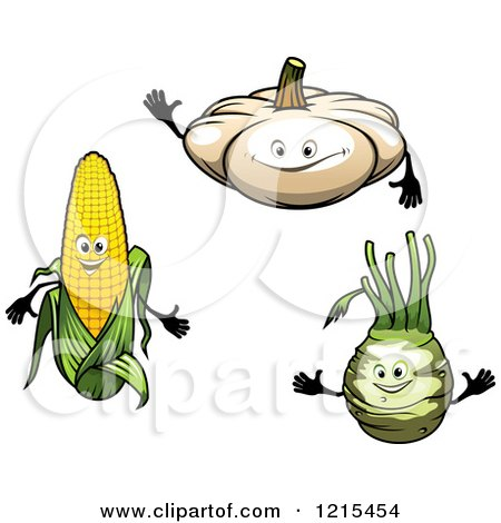 Clipart of White Pumpkin Corn and Turnip Characters - Royalty Free Vector Illustration by Vector Tradition SM