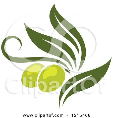 Clipart of Green Olives with Leaves 3 - Royalty Free Vector Illustration by Vector Tradition SM