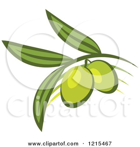Clipart of Green Olives with Leaves 2 - Royalty Free Vector Illustration by Vector Tradition SM