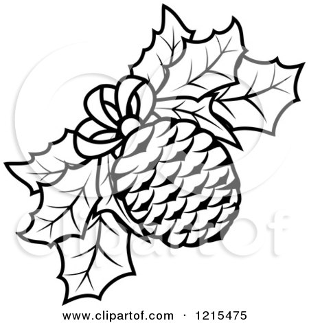 clipart of a black and white christmas pinecone and holly