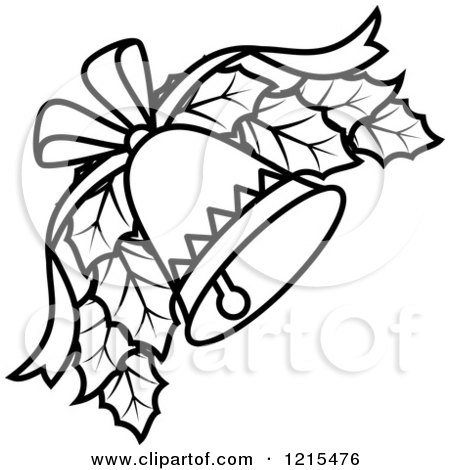 Preview Clipart Black And White Christmas Bell With Holly Icons