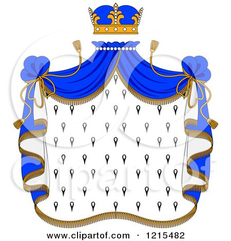 Clipart of a Crown and Royal Mantle with Blue Drapes - Royalty Free Vector Illustration by Vector Tradition SM