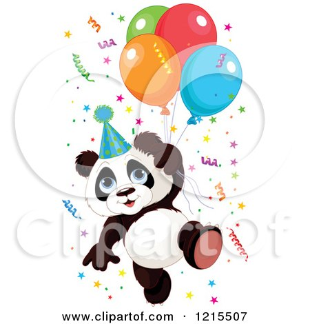 Clipart of a Cute Panda with a Party Hat Balloons and Confetti - Royalty Free Vector Illustration by Pushkin