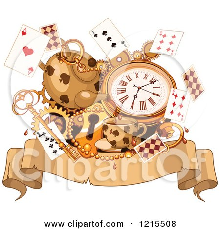 Clipart of a Wonderland Parchment Banner with Tea Cards a Watch and Key - Royalty Free Vector Illustration by Pushkin