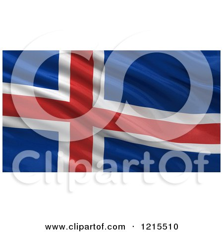Clipart of a 3d Waving Flag of Iceland with Rippled Fabric - Royalty Free Illustration by stockillustrations
