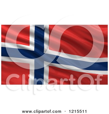 Clipart of a 3d Waving Flag of Norway with Rippled Fabric - Royalty Free Illustration by stockillustrations