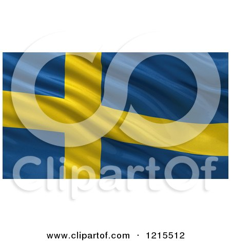 Clipart of a 3d Waving Flag of Sweden with Rippled Fabric - Royalty Free Illustration by stockillustrations