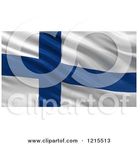 Clipart of a 3d Waving Flag of Finland with Rippled Fabric - Royalty Free Illustration by stockillustrations