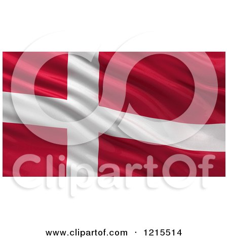Clipart of a 3d Waving Flag of Denmark with Rippled Fabric - Royalty Free Illustration by stockillustrations