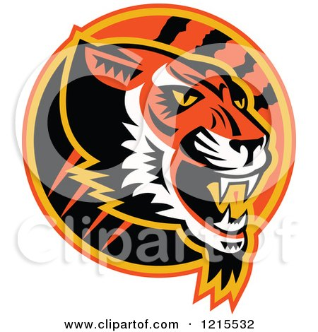 Clipart of a Growling Tiger Head in a Circle with Slash Marks - Royalty Free Vector Illustration by patrimonio