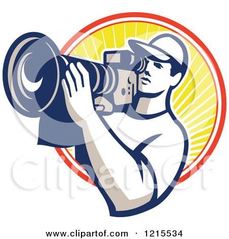 Clipart of a Retro Cameraman Filming over a Circle of Sunshine - Royalty Free Vector Illustration by patrimonio