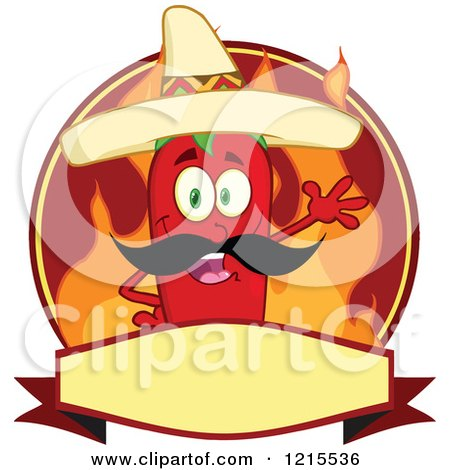 Clipart of a Waving Mexican Red Chili Pepper Character and Flames on a Label - Royalty Free Vector Illustration by Hit Toon