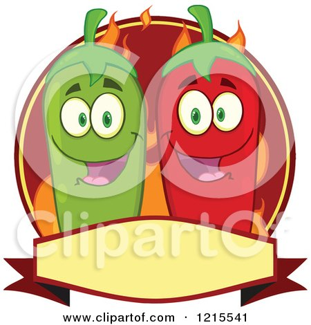 Clipart of Happy Green and Red Chili Peppers over Flames on a Label - Royalty Free Vector Illustration by Hit Toon