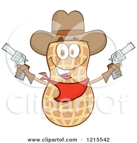 Clipart of a Cowboy Peanut Character Holding up Two Revolvers - Royalty Free Vector Illustration by Hit Toon