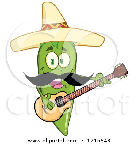 Clipart of a Green Chili Pepper Character Guitarist with a Mustache, Wearing a Mexican Sombrero Hat - Royalty Free Vector Illustration by Hit Toon