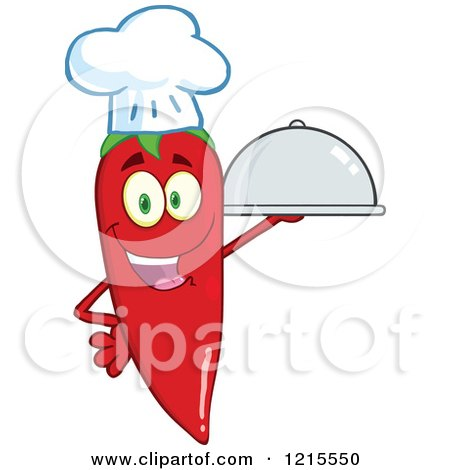 Clipart of a Red Hot Chili Pepper Character Chef Holding a Platter - Royalty Free Vector Illustration by Hit Toon