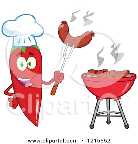 Clipart of a Red Hot Chili Pepper Character Chef Holding up a Sausage by a Bbq - Royalty Free Vector Illustration by Hit Toon