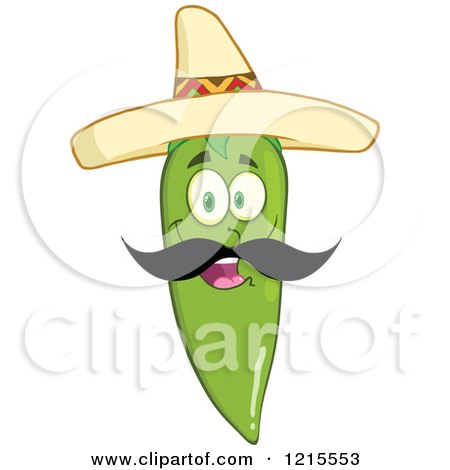 Clipart of a Happy Green Chili Pepper Character with a Mustache, Wearing a Mexican Sombrero Hat - Royalty Free Vector Illustration by Hit Toon