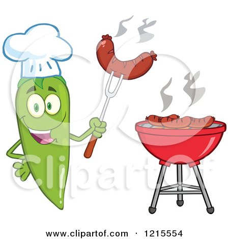 Clipart of a Happy Green Chili Pepper Chef Character with a Sausage over a Bbq - Royalty Free Vector Illustration by Hit Toon