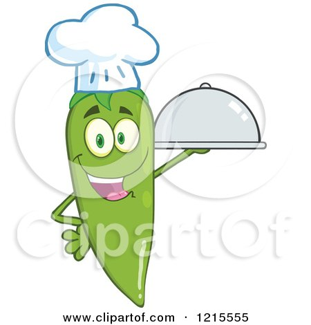 Clipart of a Happy Green Chili Pepper Chef Character with a Cloche Platter - Royalty Free Vector Illustration by Hit Toon