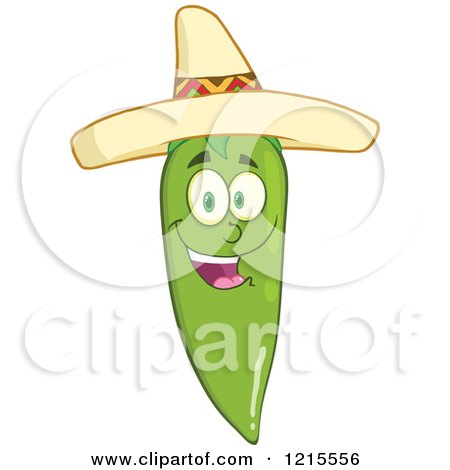Clipart of a Happy Green Chili Pepper Character Wearing a Mexican Sombrero Hat - Royalty Free Vector Illustration by Hit Toon