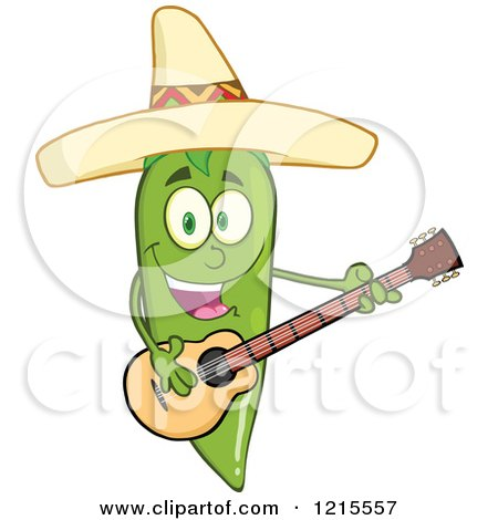 Clipart of a Green Chili Pepper Character Guitarist Wearing a Mexican Sombrero Hat - Royalty Free Vector Illustration by Hit Toon
