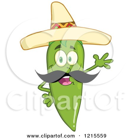 Clipart of a Waving Green Chili Pepper Character Wearing a Mexican Sombrero Hat - Royalty Free Vector Illustration by Hit Toon
