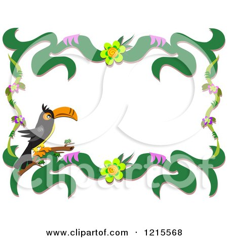 Clipart of a Toucan and Floral Border - Royalty Free Vector Illustration by bpearth