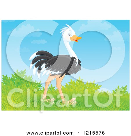 Clipart of a Cute Happy Ostrich in Nature - Royalty Free Illustration by Alex Bannykh