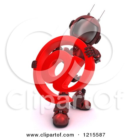 Clipart of a 3d Red Android Robot Holding an Arobase Email Symbol - Royalty Free Illustration by KJ Pargeter