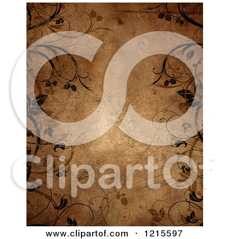Clipart of a Brown Grunge Paper Background Bordered with Vines and Flourishes - Royalty Free Illustration by KJ Pargeter