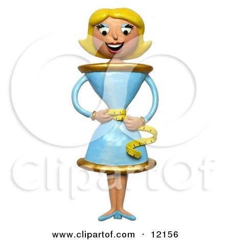 3d Skinny Teacup Woman Measuring Her Waist Posters, Art Prints