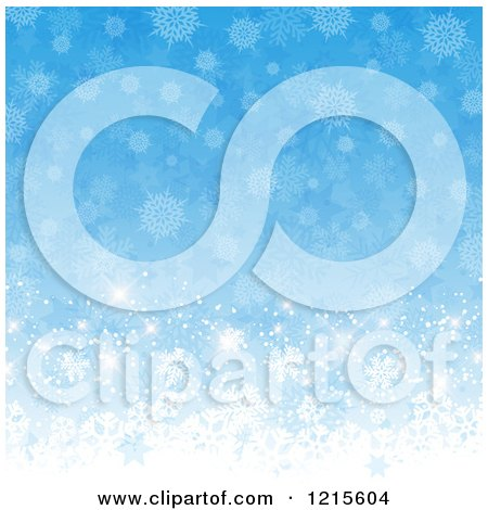 Clipart of a Blue Background of Stars Flares and Snowflakes - Royalty Free Vector Illustration by KJ Pargeter