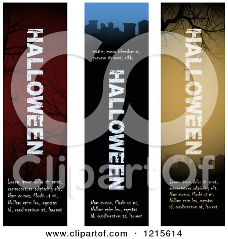 Clipart of Vertical Bat Tombstone and Cemetery Halloween Website Banners with Sample Text - Royalty Free Vector Illustration by elaineitalia