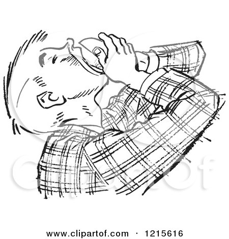 Retro Vector Clipart of a Vintage Teenage Boy Pouring Food in His Mouth in Black and White - Royalty Free Illustration by Picsburg