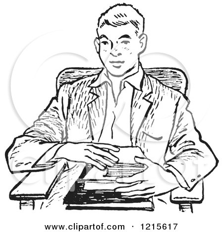 Retro Vector Clipart of a Vintage Teenage School Boy with Books at a Desk in Black and White - Royalty Free Illustration by Picsburg