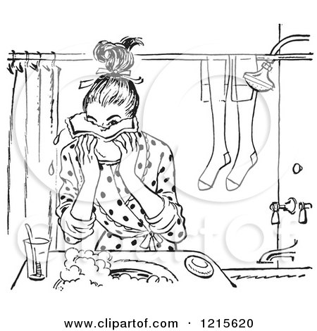 Retro Vector Clipart of a Vintage Teen Girl Washing Her Face in Black and White - Royalty Free Illustration by Picsburg